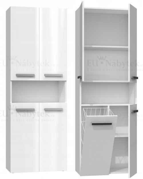 Koupelnová skříňka NELA 60 s košem bílá lesk