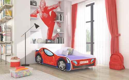 Dětská postel SPIDER červená + matrace