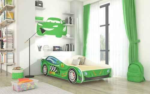Dětská postel SPEED zelená + matrace