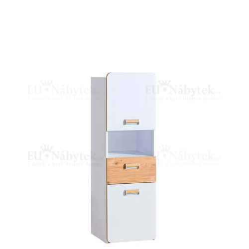 LORENZO L4 skříňka se zásuvkou bílá / dub nash