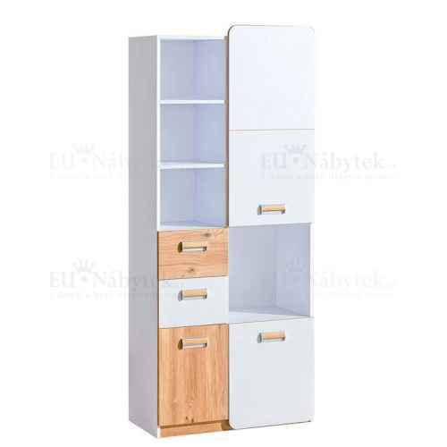 LORENZO L7 kombinovaná skříň bílá / dub nash