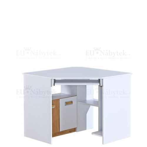 LORENZO L11 pracovní rohový stůl bílá / dub nash