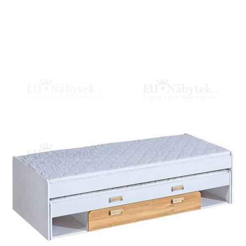 LORENZO L16 výsuvná postel s úl. prostorem bílá / dub nash