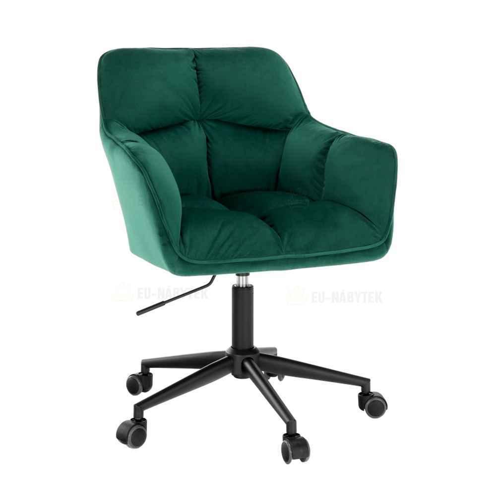 Kancelářské křeslo, smaragdová sametová látka / kov, HAGRID