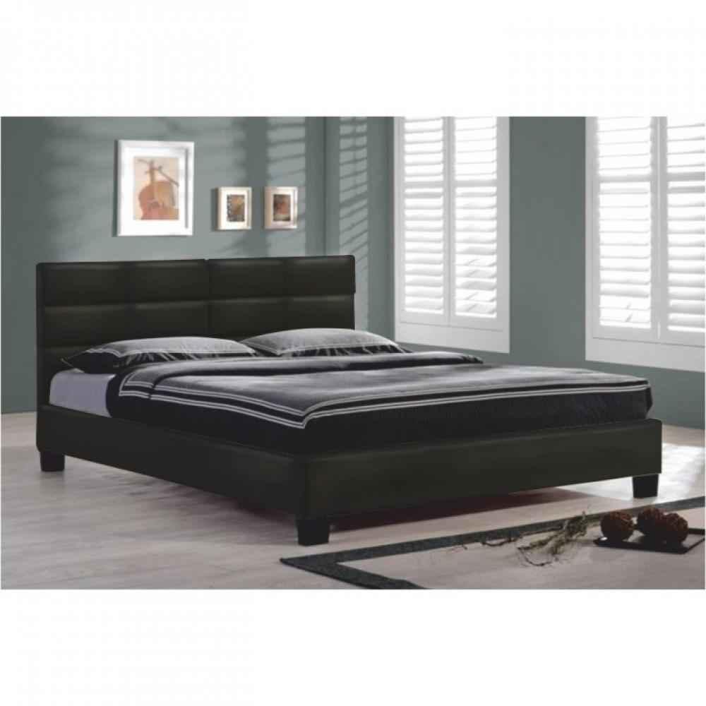 05706af3211d2 Manželská postel s roštem, 160x200, černá ekokůže, MIKEL