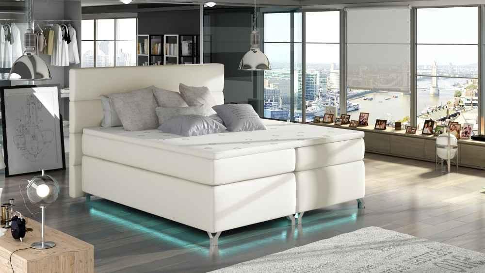 8db388bdab17d Kontinentální postel Boxspring MADEIRA béžová ekokůže 180x200cm